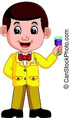 vinho vidro, homem