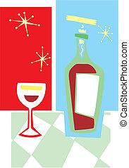 vinho vidro, retro, #2