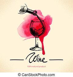 vinho, vindima, experiência., aquarela, mão, desenhado,...