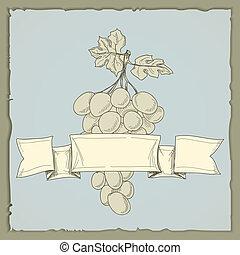 vinho vintage, uvas, etiqueta
