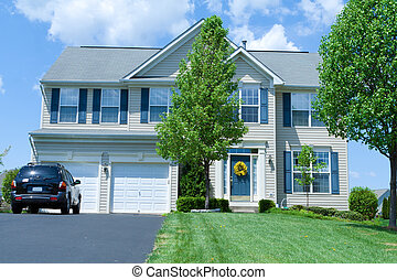 vinile, casa, suburbano, famiglia sola, md, casa, parteggiare