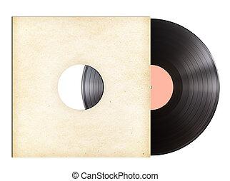 vinilo, música, disco, en, papel, manga, aislado