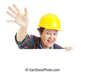 vinka, arbetare, kvinnlig