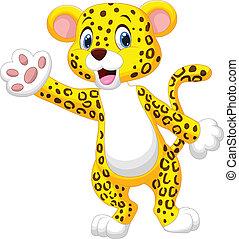 vinka, söt, leopard, tecknad film, hand