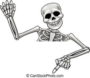 vinka, skelett, pekande