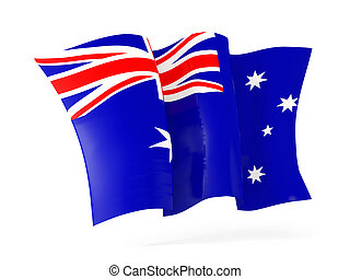 vinkande flagg, australia., illustration, 3