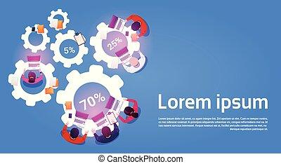 vinkel, firma, arbejdere, proces, laptop computere, arealet, cog, hold, his, bruge, hjul, kopi, top udsigt