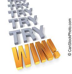 vinna, försökande, keey
