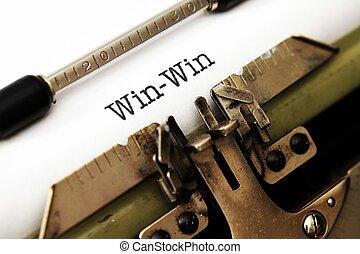 vinna, vinna, text, på, skrivmaskin