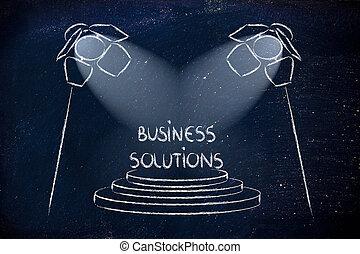 vinnande, lösning, spotlights, affär, framgång