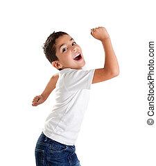 vinnare, barn, uttryck, spänd, gest, unge
