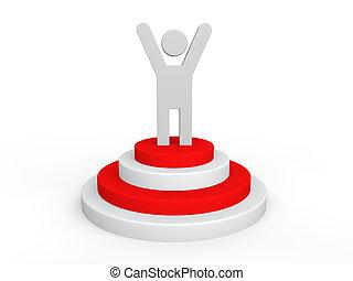 vinnare, man, på, podium