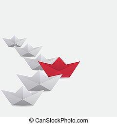 vinnare, röd, papper, skepp