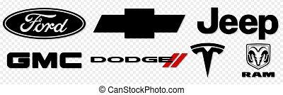 Vinnytsia, Ukraine - July 1, 2021: Set of American Car Brands. Ford, Chevrolet, Jeep, GMC, Dodge, Tesla Buick Editorial collection of auto logos