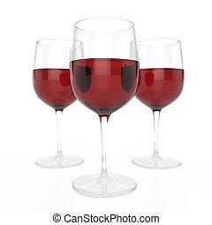 vino, 3, occhiali, rosso