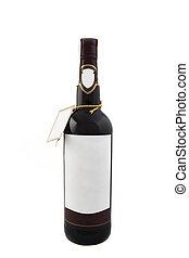 vino, aislado, botella, rojo