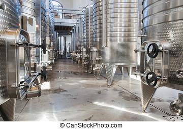vino, aluminio, barriles