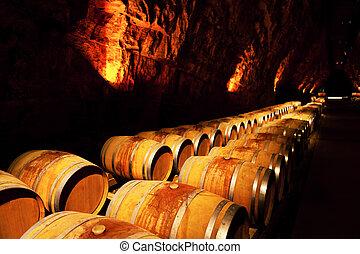 vino, barriles, en, un, lagar, francia