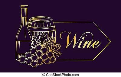 vino, bebida, alcohol, tarjeta
