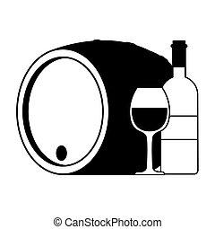 vino, bianco, barile, bottiglia, vetro, fondo