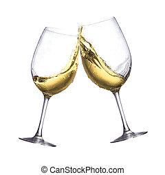 vino bianco, occhiali
