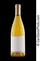 vino blanco, botella, aislado