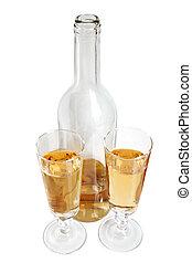 vino blanco, botella, anteojos