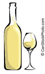 vino blanco, botella, con, vidrio