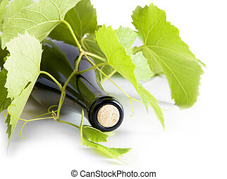 vino blanco, botella, de, uva, leaves.