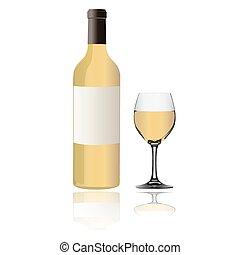 vino blanco, botella, y, vidrio