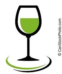 vino blanco de vidrio, icono