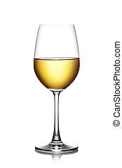 vino blanco de vidrio