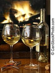 vino blanco, delante de, un, tibio, fuego