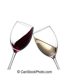 vino blanco, rojo, anteojos