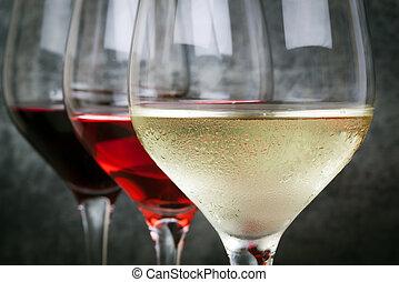 vino blanco, rosa, rojo