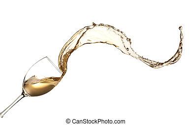 vino blanco, salpicar, afuera, de, vidrio, aislado, blanco,...