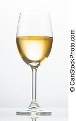 vino blanco, vidrio, iluminado, de atrás