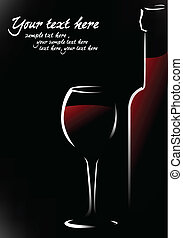 vino, botella roja, vidrio
