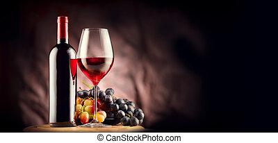 vino., botella, y, copa de vino tinto, con, maduro, uvas, naturaleza muerta