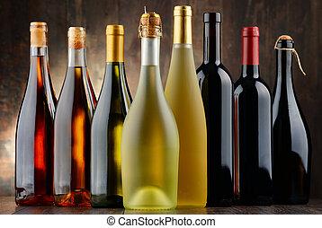 vino, botellas, composición, variado