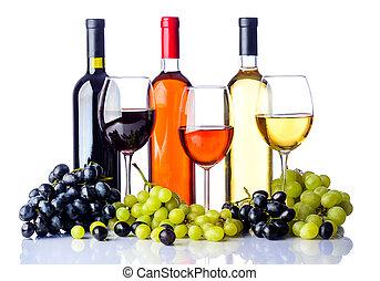 vino, botellas, uvas, anteojos