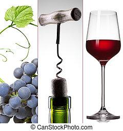 vino, collage, -, uva, botella, y, vidrio