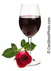 vino, con, rosa roja