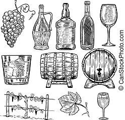 vino., conjunto, de, botellas de vino, uva, vidrio, madera, barrels., diseñe elementos, para, cartel, menu., vector, ilustración