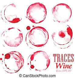 vino, conjunto, huellas, rojo, marcas