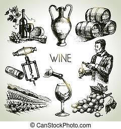 vino, conjunto, vector, bosquejo, mano, dibujado
