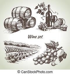 vino, conjunto, vector, mano, dibujado
