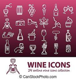 vino, contorno, icone