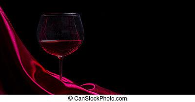 vino, contro, seta, elenco, nero rosso, vetro, fondo., disegno