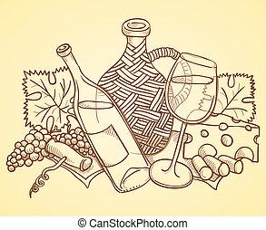 vino, disegno, themed